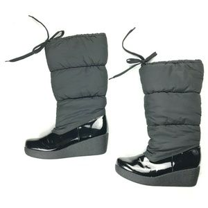 Report Tall Quilted Puffer Black Boots Size 9